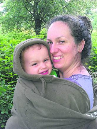 Becky Martin often takes her two-year-old son Aidan with her when handing out leaflets