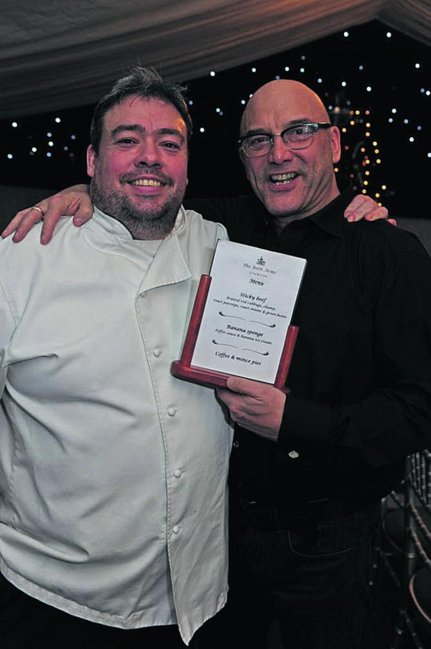 The Wiltshire Gazette and Herald: Bath Arms owner Dean Carr with long-time friend Gregg Wallace last night