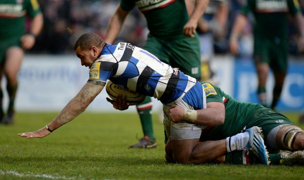Jonathan Joseph goes over for Bath's third try at Welford Road