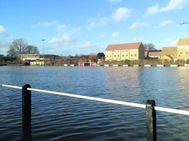 The Malmesbury Vics pitch looks more like a lake today