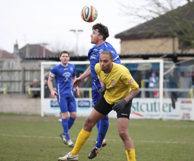 The Wiltshire Gazette and Herald: Chippenham Town's Jack Allward (blue) returned to training this week