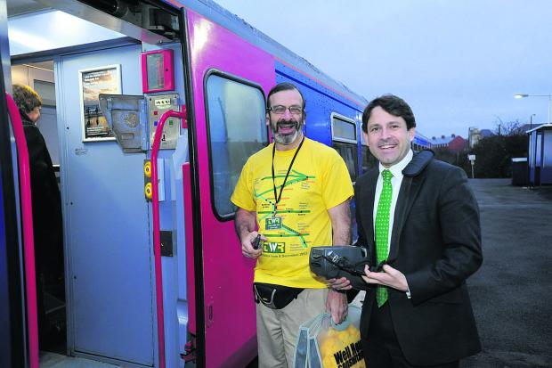 The Wiltshire Gazette and Herald: Duncan Hames at the launch of the TransWilts line, with local campaigner Graham Ellis