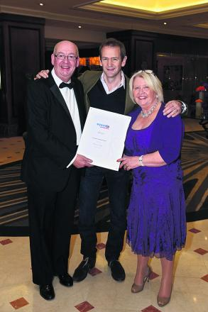 FAB! Events Global MD Andrew Wright, host  Alexander Armstrong, and FAB! director Julie Cooper