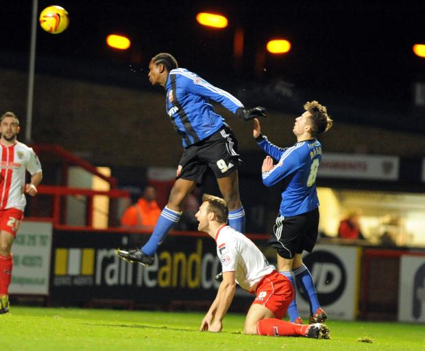 Swindon Town's Nile Ranger goes close against Stevenage last night