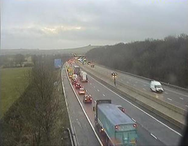 Queues on the eastbound M4 at junction 15