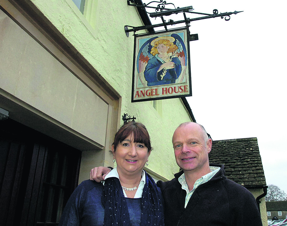 Paul Jarvis and his wife Caroline outside The Angel in Sherston
