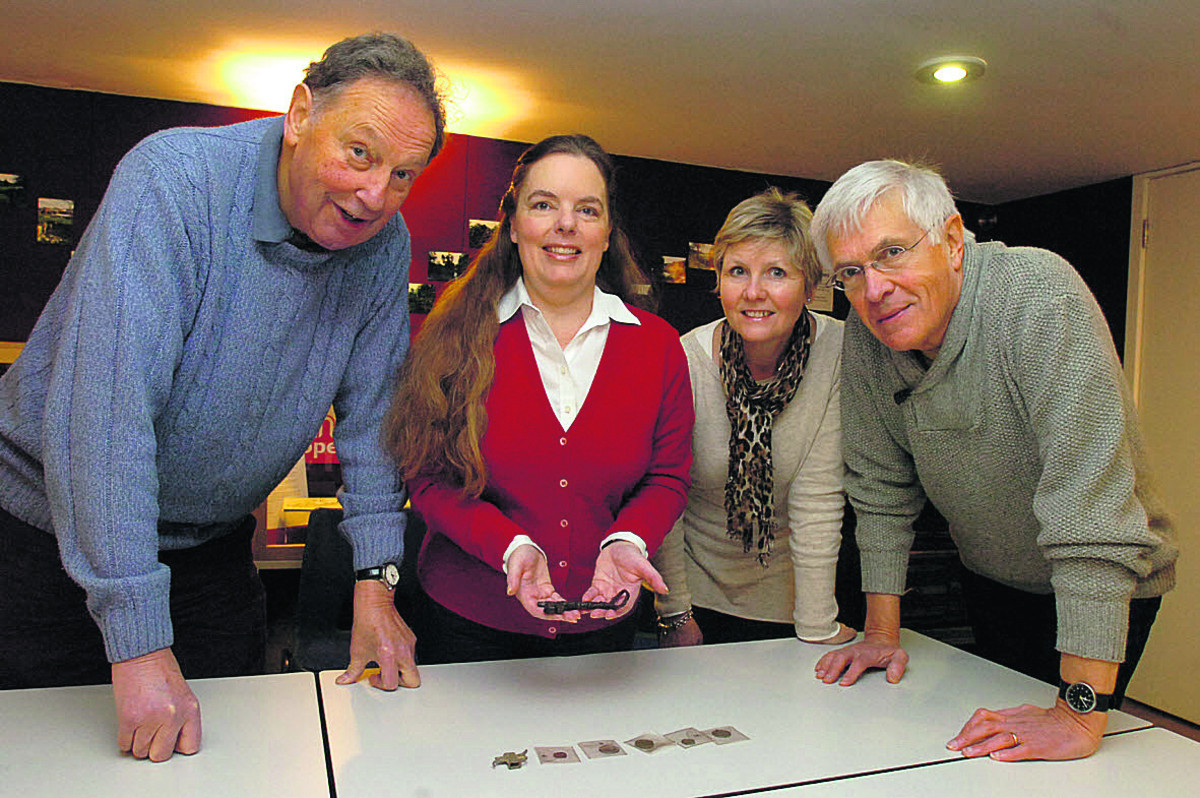 Roger Griffin, Maria Marsh, Bridget Robinson and Mike Elam with some of the museum treasure that will be on display, thanks to the £10,000 grant