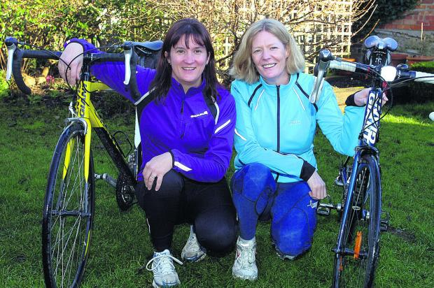 The Wiltshire Gazette and Herald: Alison Grainger and Oonagh Fitzgerald look forward to their challenge in aid of the Brighter Futures charity