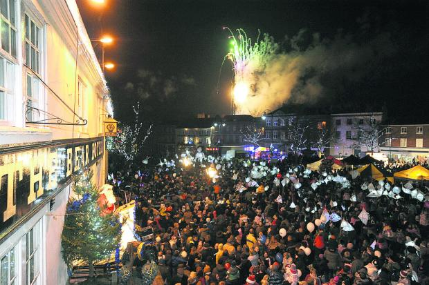 The lantern parade and fireworks that heralded the switching on of the Christmas lights in Devizes