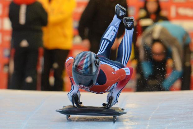 Shelley Rudman, pictured in action in Igls, Austria, today