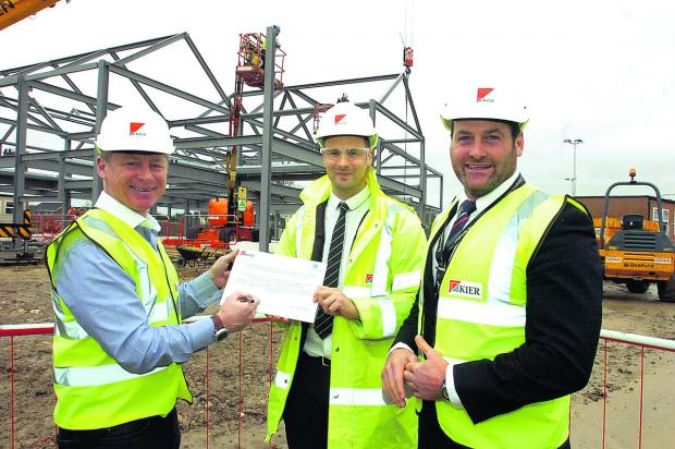 Polar explorer Alan Chambers, site manager Daryl Parker and associate principal James Lynch at Springfields Academy, Calne, where a £2.8 million project for 16 new classrooms is taking shape