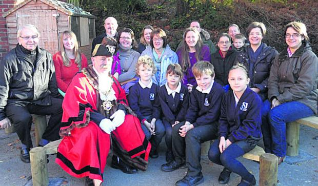 Devizes mayor Pete Smith officially opens the new play area at St Joseph's School