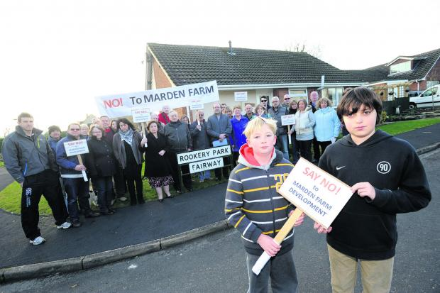Members of the South Calne Residents Association at an earlier protest against the factory plan