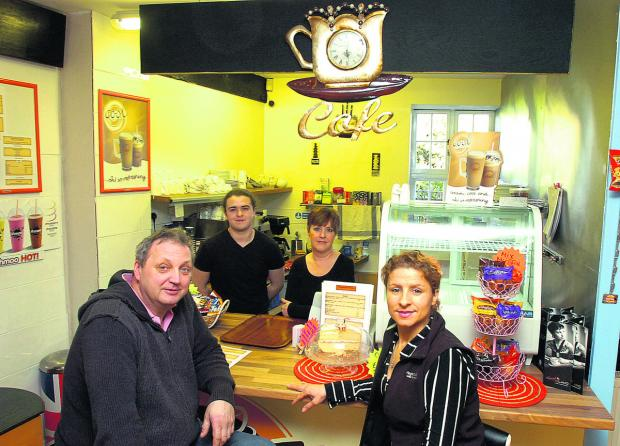 At the café, back, from left, Luke Furneaux and Debbie Caswell, and front, Richard Gorzelski and Edite Franca