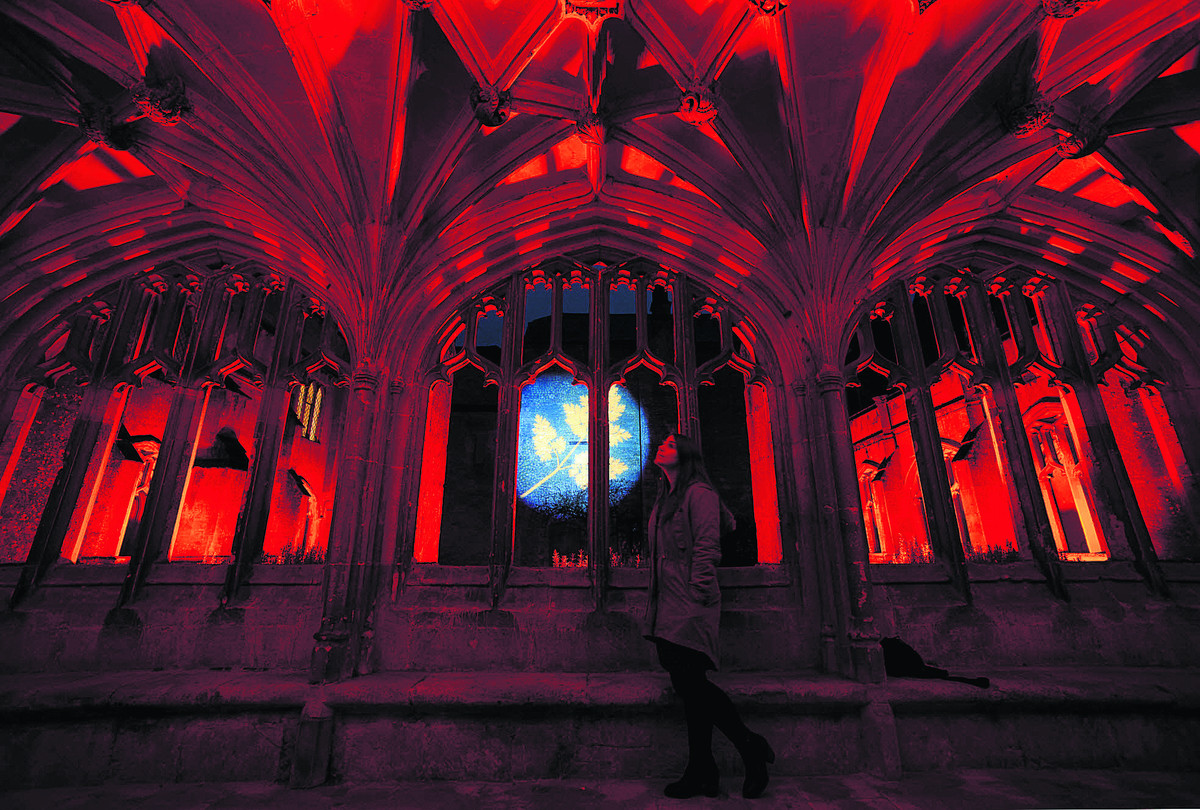 Spectacular in red, the abbey's cloisters are glowing. The