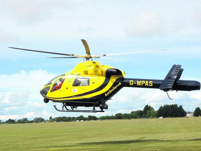 The Wiltshire air ambulance landed on Marlborough Common to airlift Robin Salkeld to Frenchay