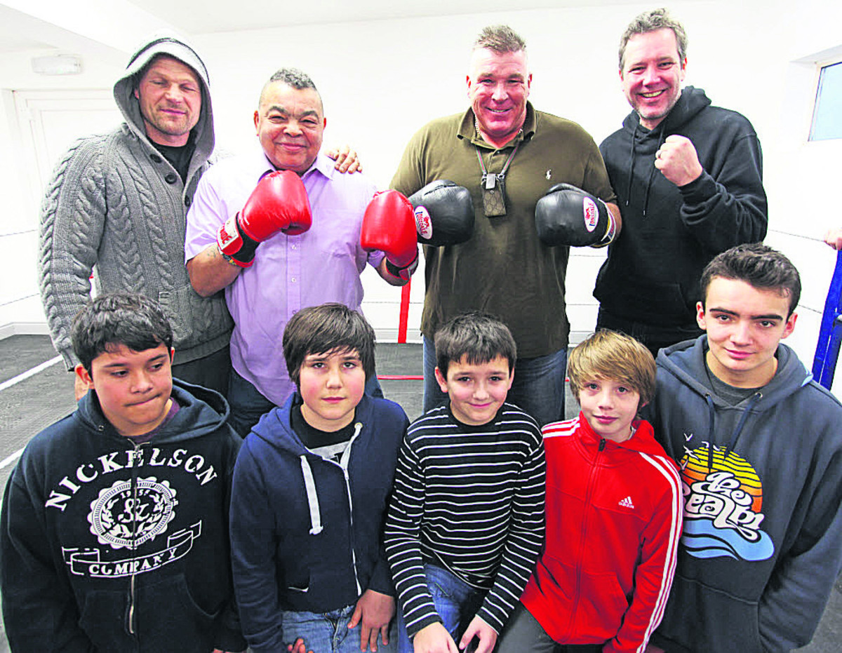 Boxing heroes Ricky Porter (back, second left) and Joe Egan (back, second right) visit Marlborough Amateur Boxing Club's Open Day at Elcot Lane