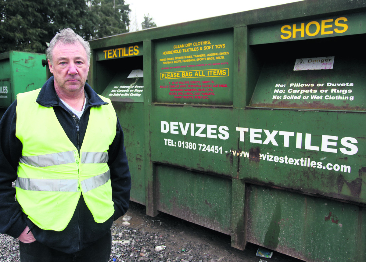 Danny Williamson, contracts manager at Devizes Textiles, with the sort of clothing banks that were stolen