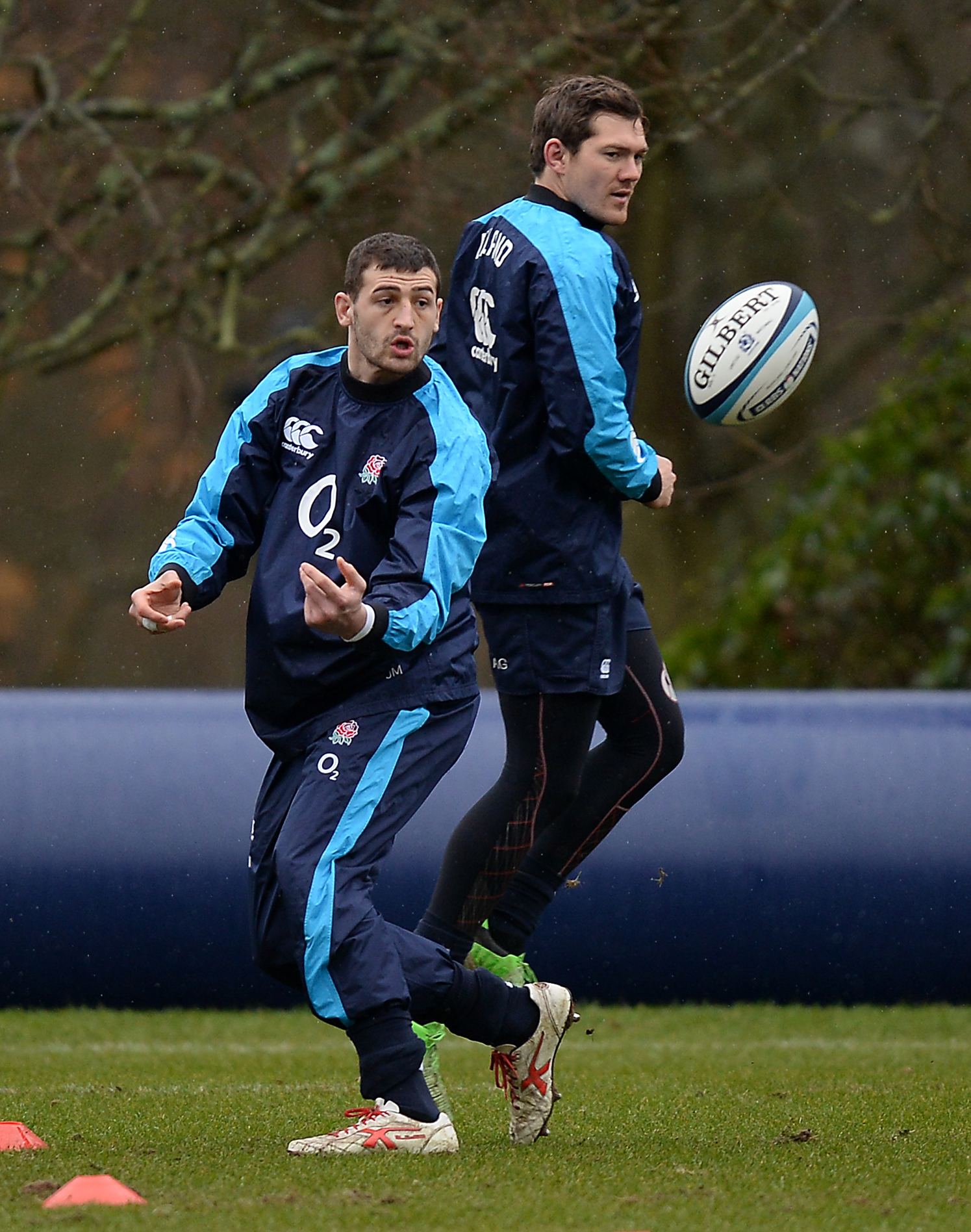 Jonny May (left) and Alex Goode during England's training session yesterday