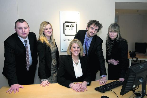 From left are property management manager Matthew Bowden, Joanna Sartain, director Laura Larkin, Gareth Collin and office manager Sally-Anne Gardener-Wollen