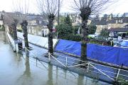 Major flood defences at Bradford on Avon earlier this year