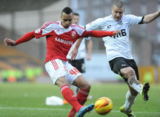 Loanee Jacob Murphy in action against Port Vale