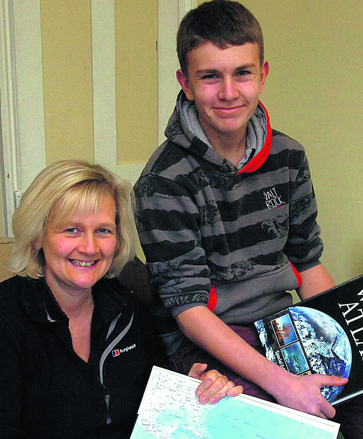 Sandra Mathias and son Owain Jennings, who hopes to go to Peru to carry out charity work in 2015
