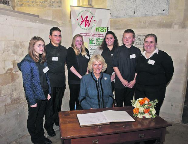 The Duchess of Cornwall, with a group young carers supported by Youth Action Wiltshire, at last year's concert