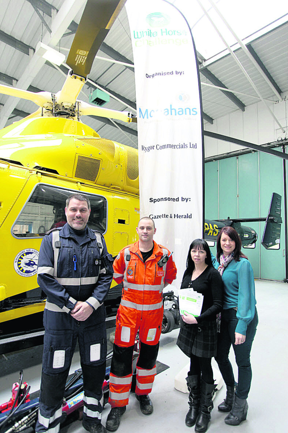 At the challenge launch are Nigel Gilbert of the police, paramedic Matt Baskerville, Zoe Meaden of Monahans and Claire Kelly of the air ambulance