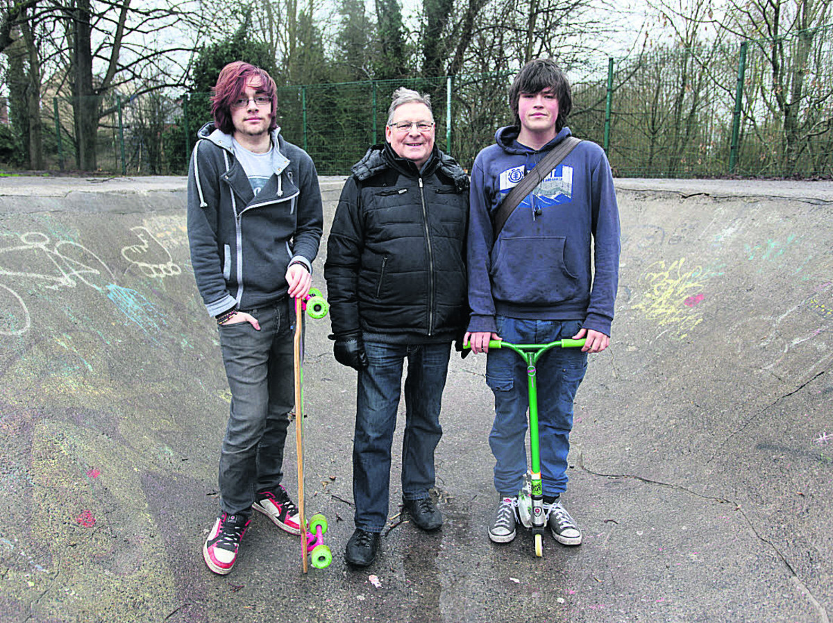 Committee members Jake Brock, left, and Jordan Hyde with Wiltshire and Calne councillor Howard Marshall, who has been pushing for a replacement skateboarding area