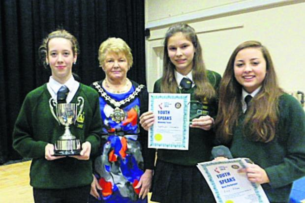 Rachel Sexton, Mayor of Chippenham Sylvia Gibson, Kathryn Titcomb and Ellie Allan
