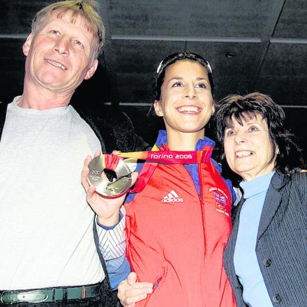 Jack and Josie Rudman pictured with daughter Shelley on her victorious return from the Turin Winter Olympics, where she won silver in 2006