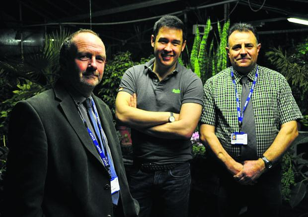 Pictured from left are Carl Gill, curriculum manager for horticulture, James Wong and Lackham head gardener Stan Rawlings