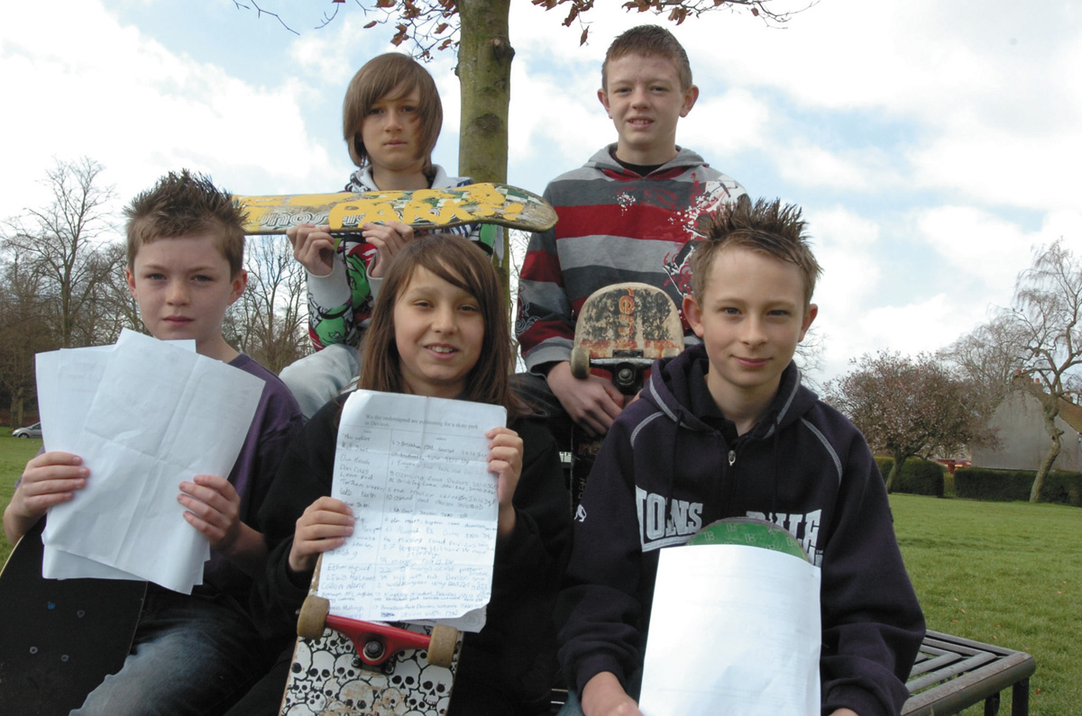 Youngsters campaigning for a skatepark in Devizes in 2009. Many of the original campaigners have now grown out of skateboarding.