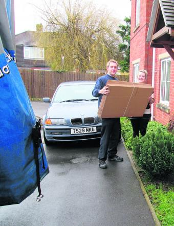 Matt Rose delivers the boxes to Laura Self