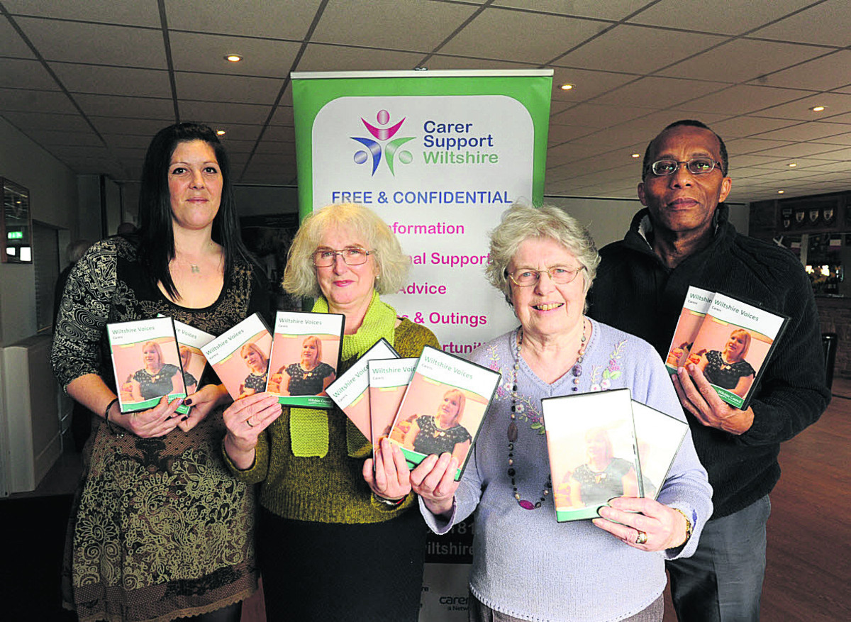 Carers who appear in the new Wiltshire Voices DVD Star Painter, Bev Conio, Margaret Greenman and Bob Selkridge