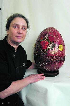Diana Short with the giant egg at Lick the Spoon in Corsham