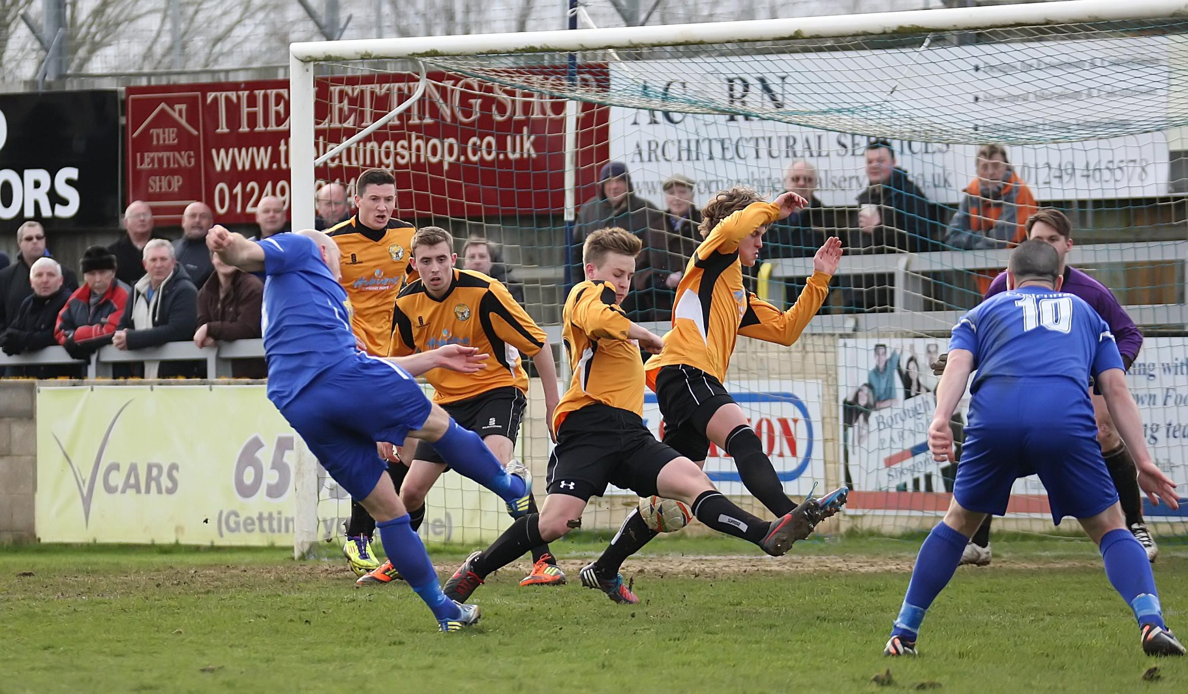 Chippenham Town striker Alan Griffin shoots during his side's 2-0 win over Bashley on Saturday (Picture by Robin Foster)