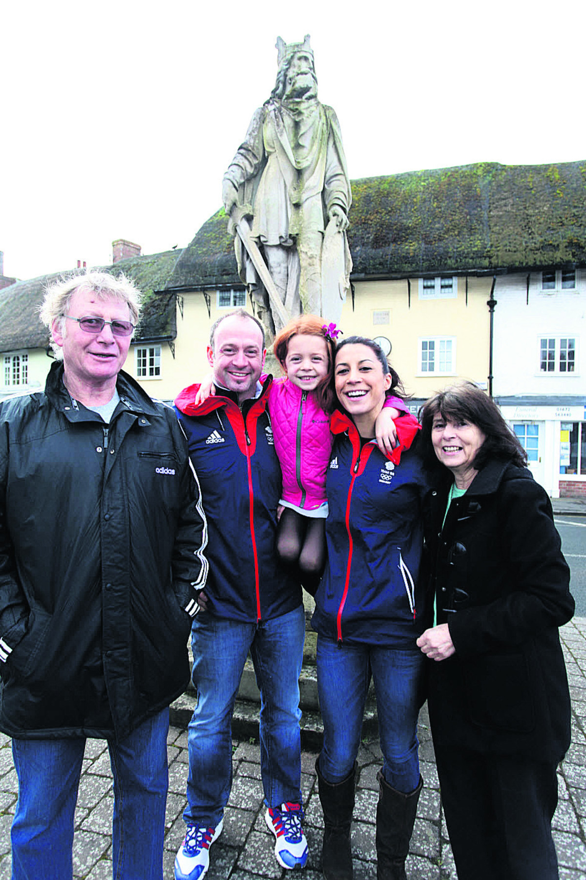 Shelley Rudman back in Pewsey with, from left, father Jack Rudman, fiance and fellow slider Kristan Bromley, daughter Ella and mother Josie