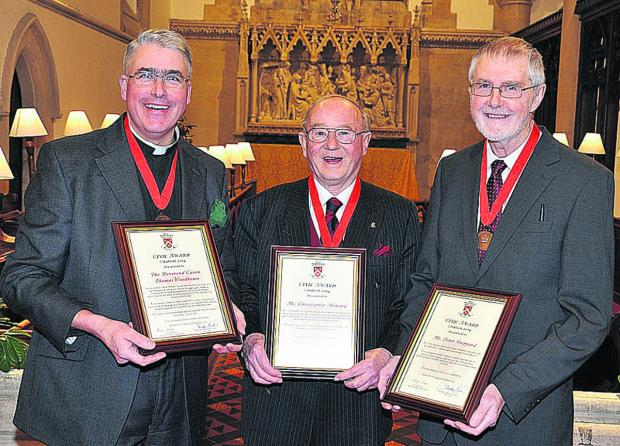 From left, Rev Canon Thomas Woodhouse, Chris Howard, Peter Sheppard