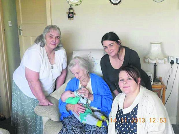 Carol Elliott with her mother Florence Ward, great grandson Junior, daughter Sharon Elliott and granddaughter Samantha Sarsby