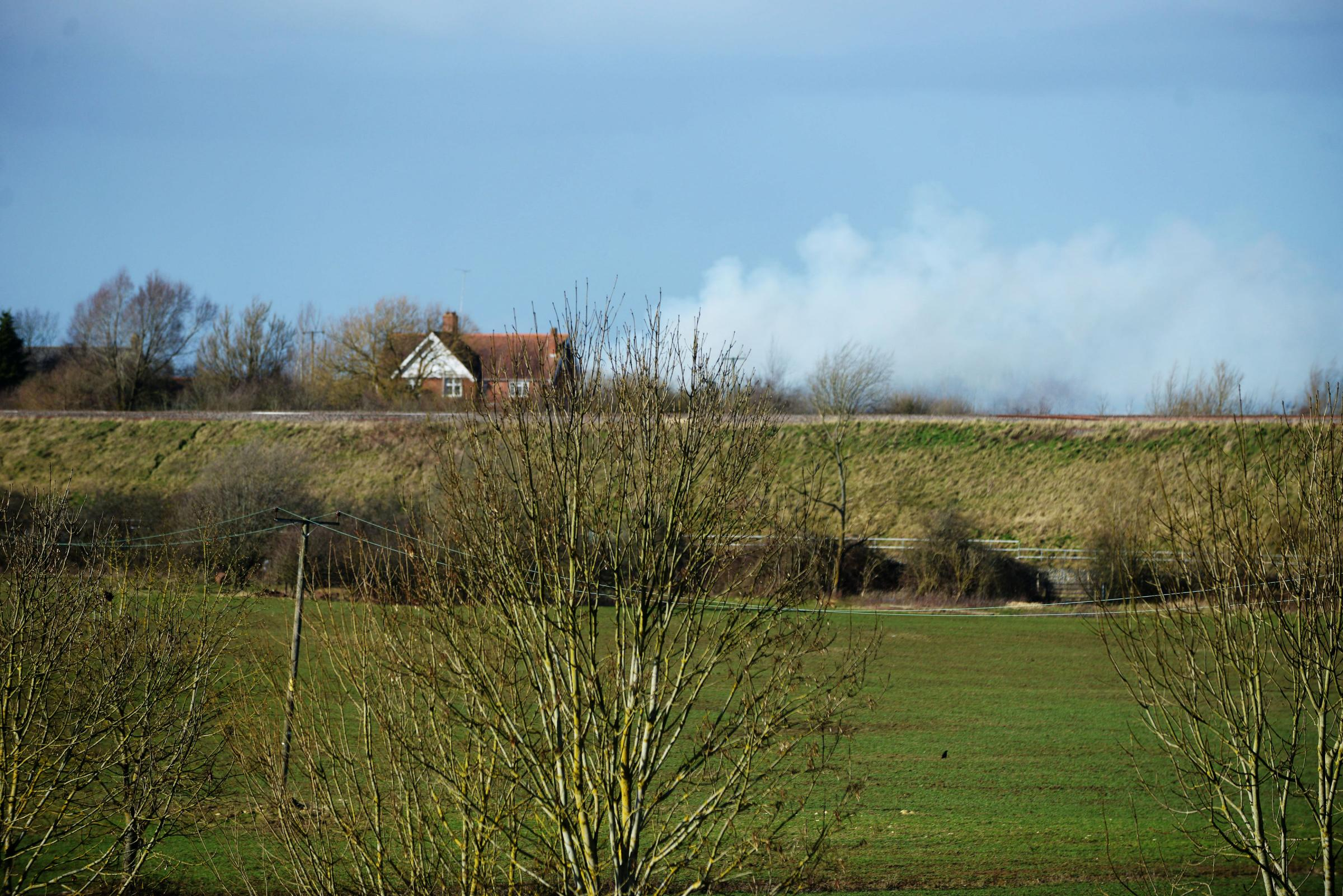 Smoke from this afternoon's fire near Royal Wootton Bassett