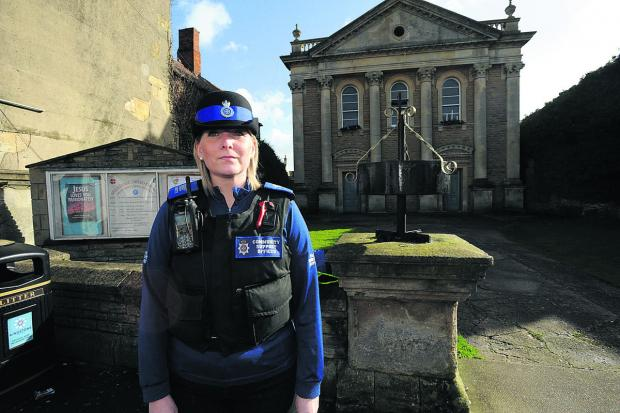 The Wiltshire Gazette and Herald: PCSO Helen Wilson outside Melksham United Church. An 86-year-old woman was mugged shortly after attending a service there