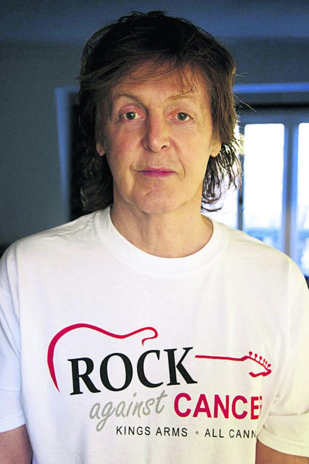 The Wiltshire Gazette and Herald: Sir Paul McCartney wears his Rock Against Cancer T-shirt in support of the All Cannings event