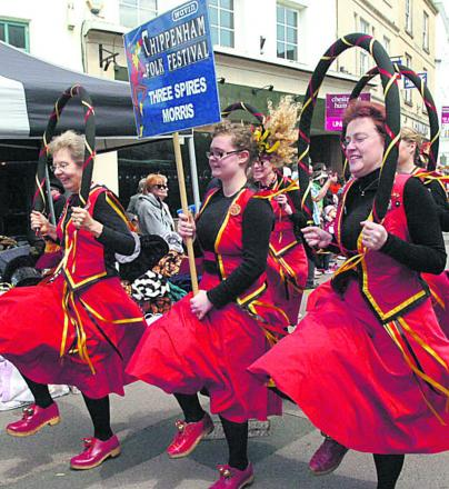 Three Spires Morris Dancers in action at last year's Chippenham Folk Festival