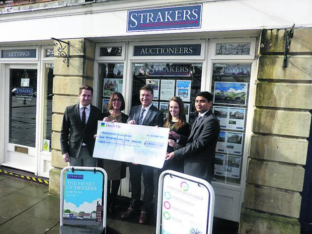 The Wiltshire Gazette and Herald: Lewis Bulley and Karen Damon from Strakers, Bag4Sport director Andy Trusler, and Emily Young and Arun Letchumanan from Charlton Baker