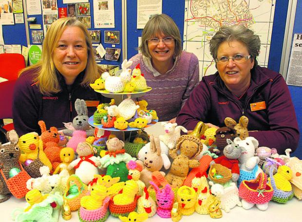 Diana Malling, Lynn Clark and Linda Brett get knitting for Easter to help get a bigger Scout hut