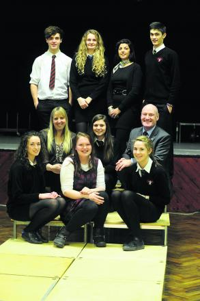 Back, from left,  Ellis, Louise, Taylor-Jane Hancock of The Wardrobe in Devizes, and Jake; middle, English teacher Hayley Lacey, Holly, and headteacher Malcolm Irons; front, Nicole, Hannah and Issy