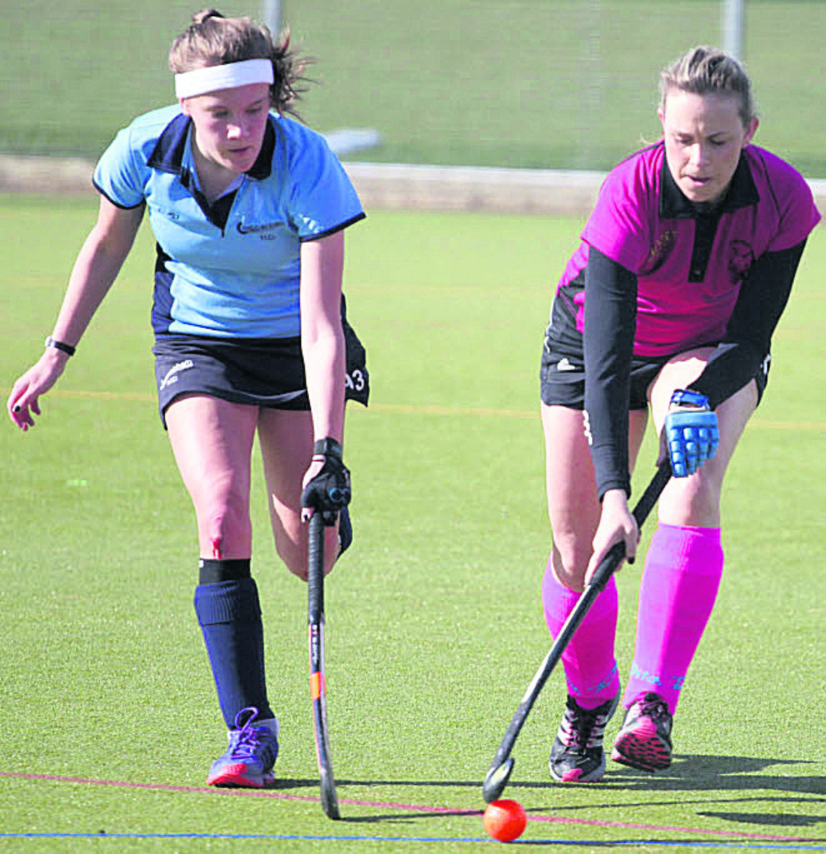 Chippenham's Bobbi Lange (left) challenges Sarah Hall, of Bretforton during the Wiltshire side's home defeat last Saturday