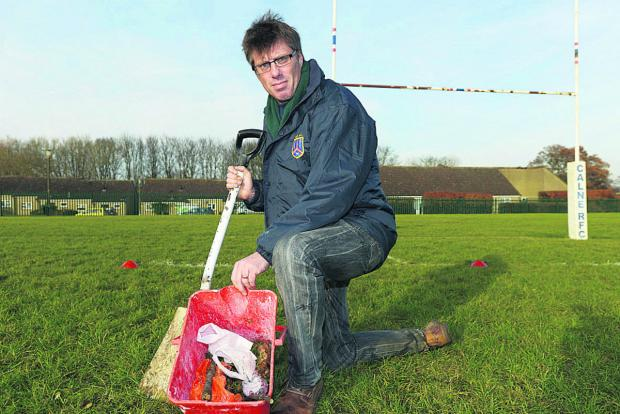 Dog poo has become a issue on Calne recreation ground. Pictured is David Conway 	(TK708) By THOMAS KELSEY